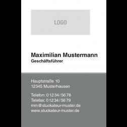 Visitenkarte grau mit Logo 1stg. hoch